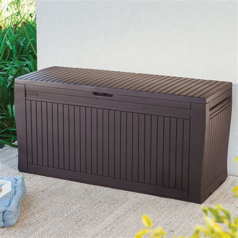 plastic garden bench box with storage comfy wood effect plastic patio storage box departments