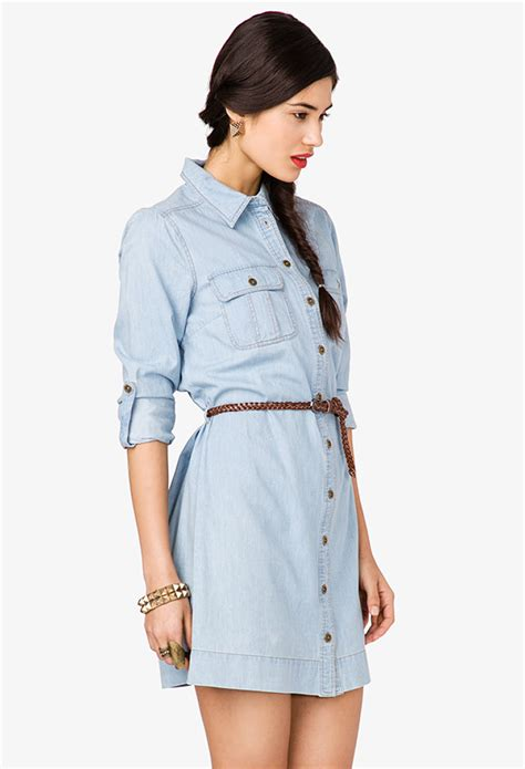 forever 21 denim shirt dress with belt in blue lyst