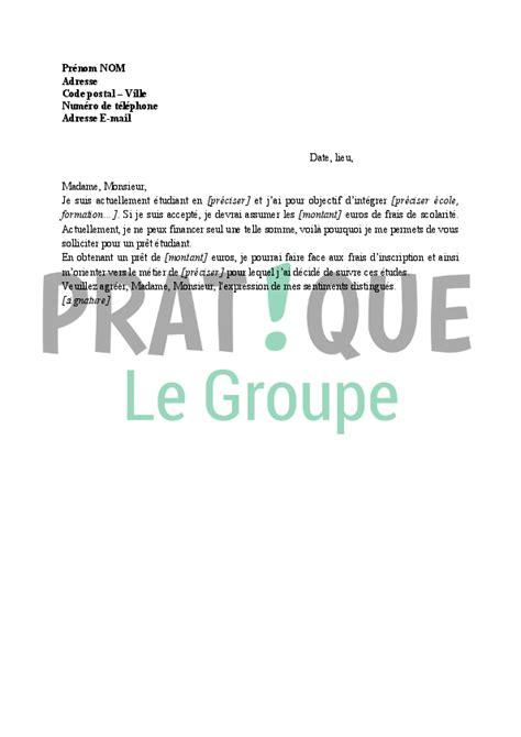 Demande De Pret Lettre Lettre 224 La Banque Demande De Pr 234 T 233 Tudiant Pratique Fr