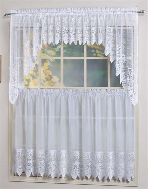 Swag Curtains For Kitchen Valerie Curtains Are A Sheer Macram 233 Combination Style The Tiers Are Sheers Embellished With