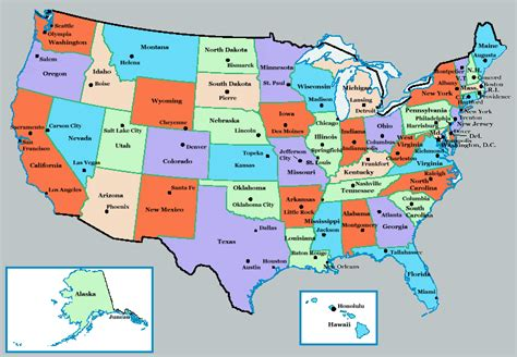 map of the united states and their capitals u s state capitals