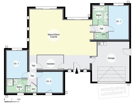 plan de maison de plain pied avec 3 chambres maison contemporaine de plain pied d 233 du plan de