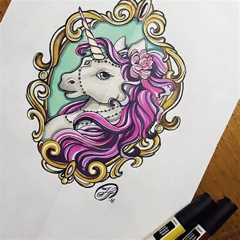 new school unicorn tattoo new school purple mane unicorn portrait in golden mirror