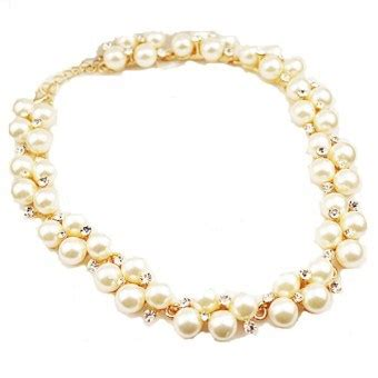 Kalung Wanita Cewek Korea Mutiara Daun Necklace kalung mutiara princess secret white pearl