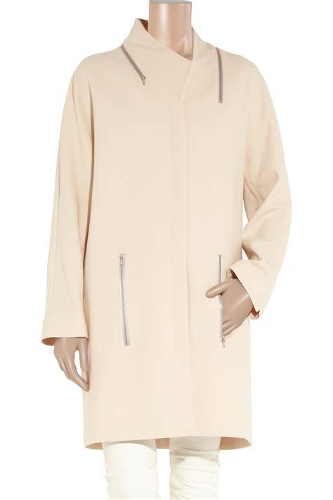Jaket Beckam Karlit Pria lyst beckham zip detailed stretch wool coat in