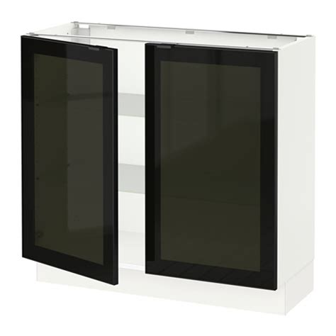 Smoked Glass Kitchen Cabinet Doors with Sektion Base Cabinet With 2 Glass Doors White Jutis Smoked Glass Black 36x15x30 Quot Ikea