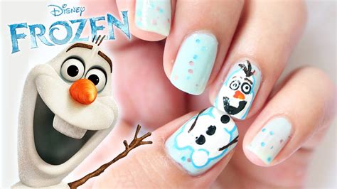 nail art olaf tutorial disney frozen olaf inspired nails youtube