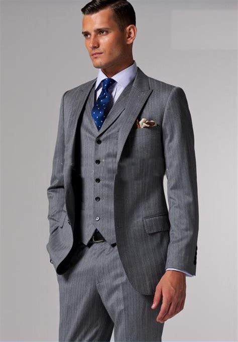 Setelan Grey Best Seller 2013 best selling accept custom made suits light gray black pinstripes suits 3 suit