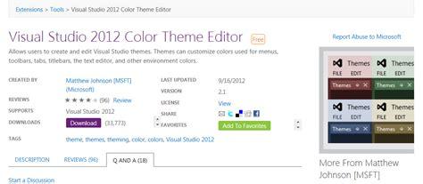 vs2012 themes gallery visual studio 2012 color theme editor matthew johnson