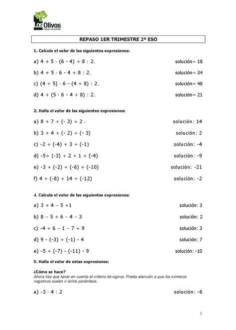 cuaderno de repaso matem 225 ticas de primero ejercicios de repaso de matem ticas de 1 a 4 de eso con 2 186 eso ficha de repaso de 1er