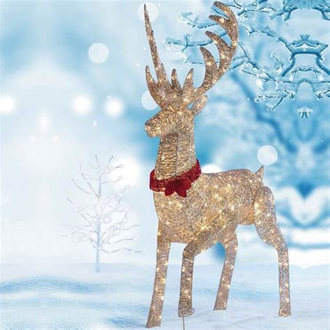 Christmas Outdoor Decoration Pre Lit Reindeer Stag 240 Led Outdoor Deer With Lights