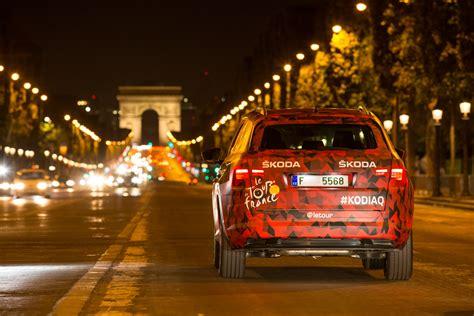 skoda kodiaq crosses the tour de finishing line