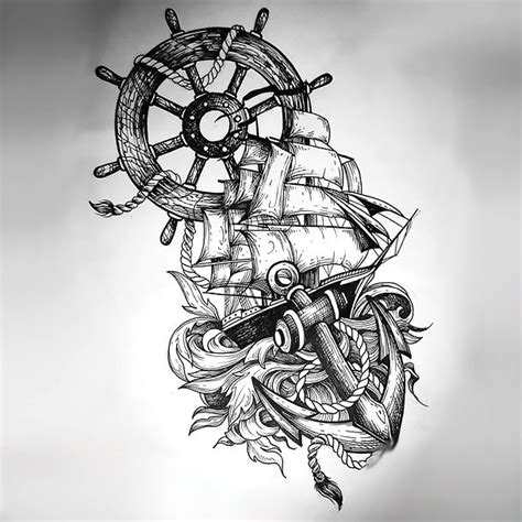 ship anchor wheel tattoo in sketch style