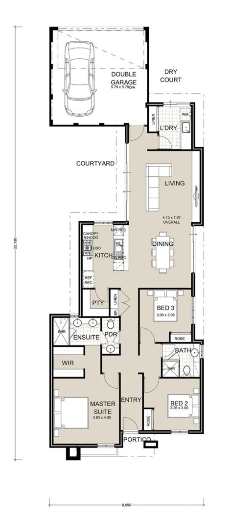 narrow lot house plans with rear garage a stunning three bedroom two bathroom home with rear garage for 10m wide blocks