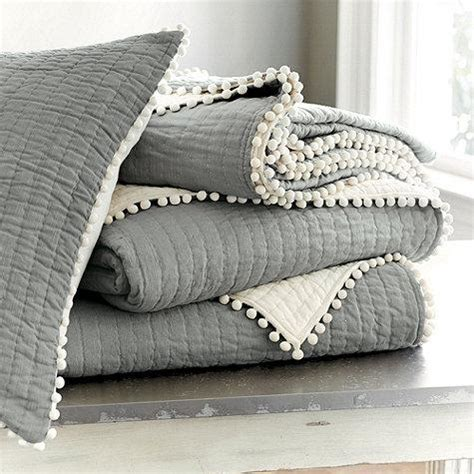 Gray Quilt Bedding by Audree Pom Pom Grey Quilt