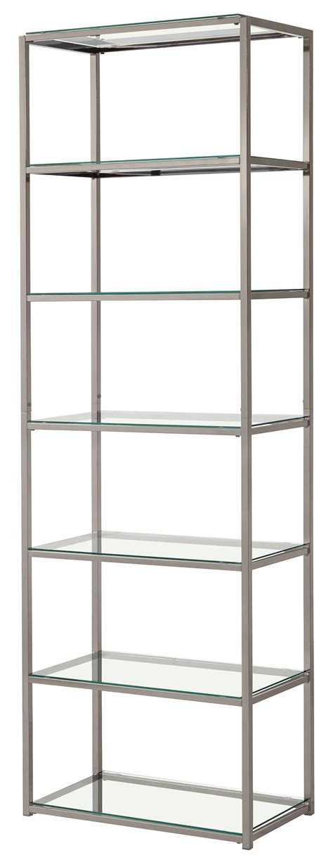 Coaster 801017 Contemporary Metal Bookcase With Glass