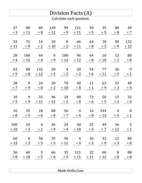 Division Practice Worksheets by Vertically Arranged Division Facts To 144 A