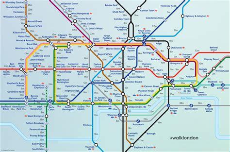 map of the underground strike walking times between underground stations
