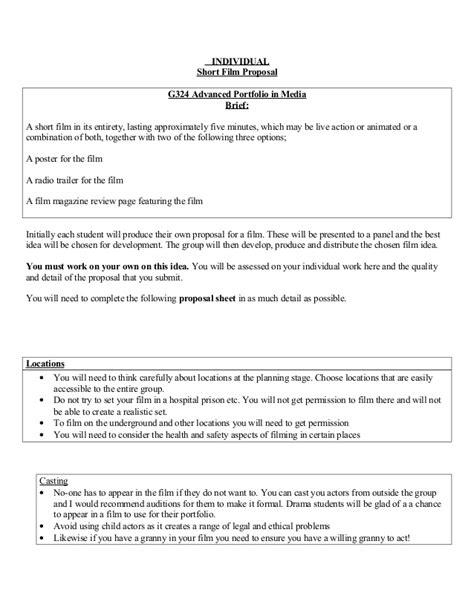 Job Resume Set Up by Short Film Proposal