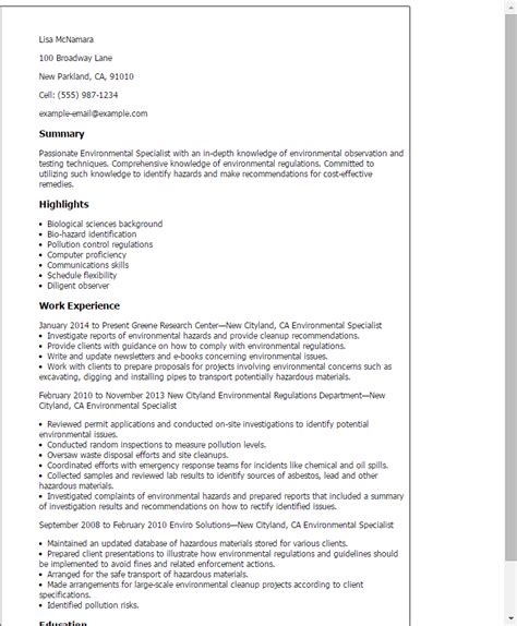 Hazardous Materials Specialist Cover Letter by Professional Environmental Specialist Templates To Showcase Your Talent Myperfectresume