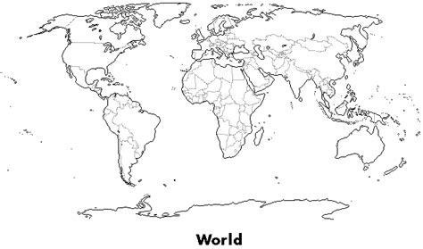 world map coloring page with labels outline maps