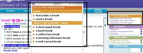 dictionary section take a break and other collocations آموزش زبان انگلیسی