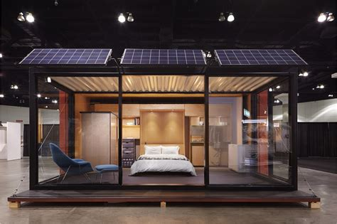 shipping container house  glass walls