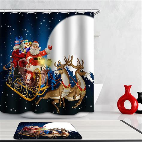 discount christmas shower curtains 3d shower curtain hot sale cheap multi size waterproof