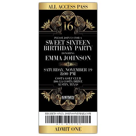 Gatsby Glitzy Ticket Sweet  Invitations Paperstyle