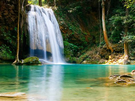 deep  jungle forest waterfall erawan  kanchanaburi