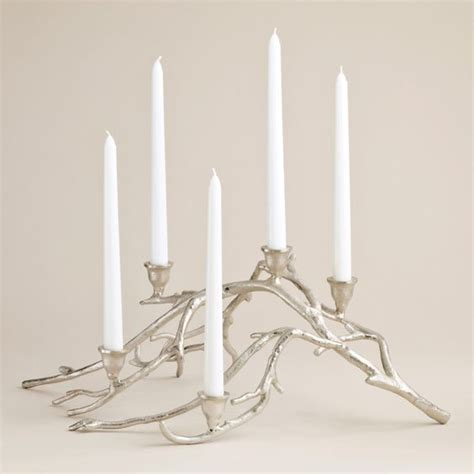 Silver Twig Taper Candle Centerpiece Taper Candles Twig Candle Holder Centerpiece