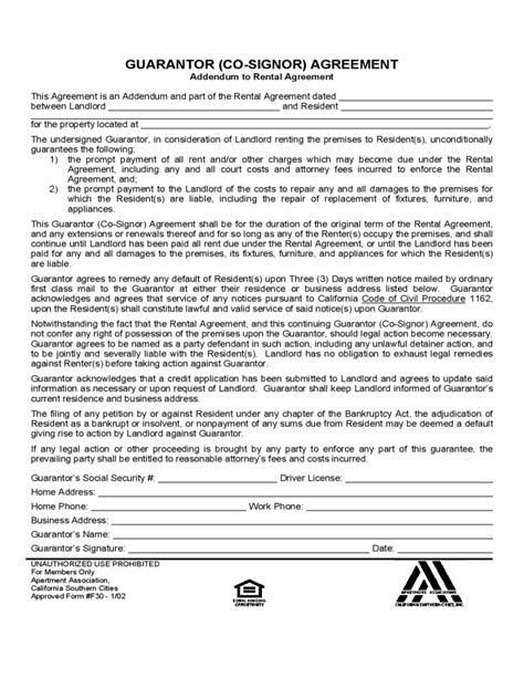 Guarantor Letter Rent Template Sle Form For Guarantor Agreement Free