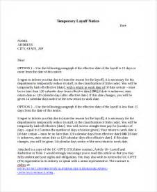 layoff letter template sle layoff notice template 6 free documents