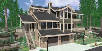 view house plans sloping lot multi level sloped