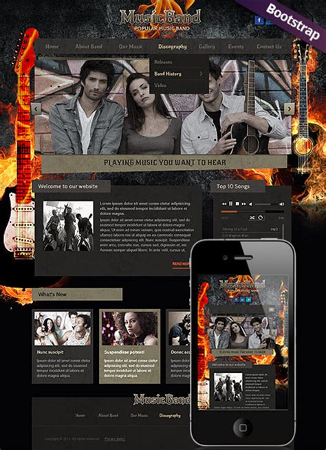 bootstrap themes free band music band bootstrap template id 300111765