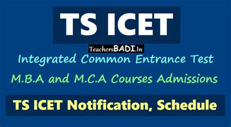 Entrance For Integrated Mba by Ts Icet 2018 Notification Schedule Tsicet M B A M C A