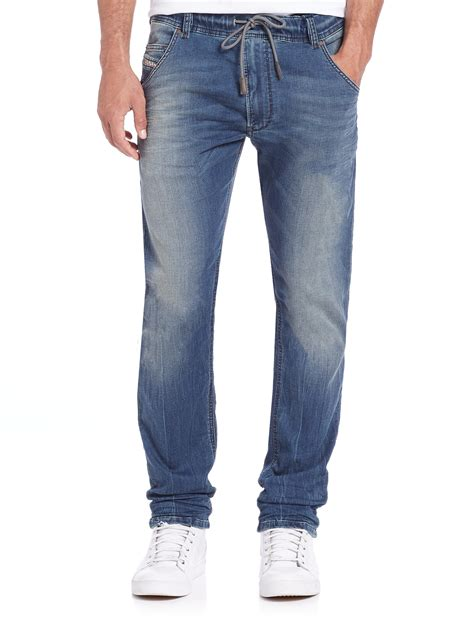 light blue jean joggers diesel krooley drawstring jogger jeans in blue for men lyst