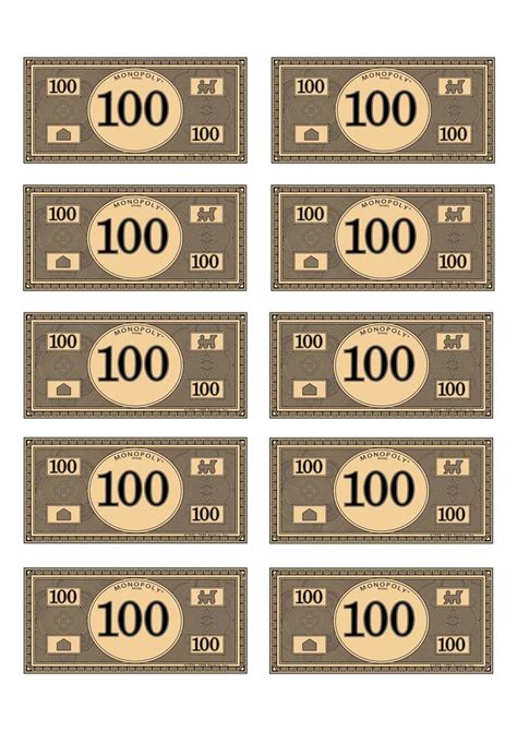 Monopoly Money Template monopoly money 100 budget