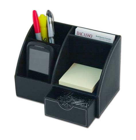 Desk Organization Sets D1006 Black Leather 2 Desktop Organizer Desk Set