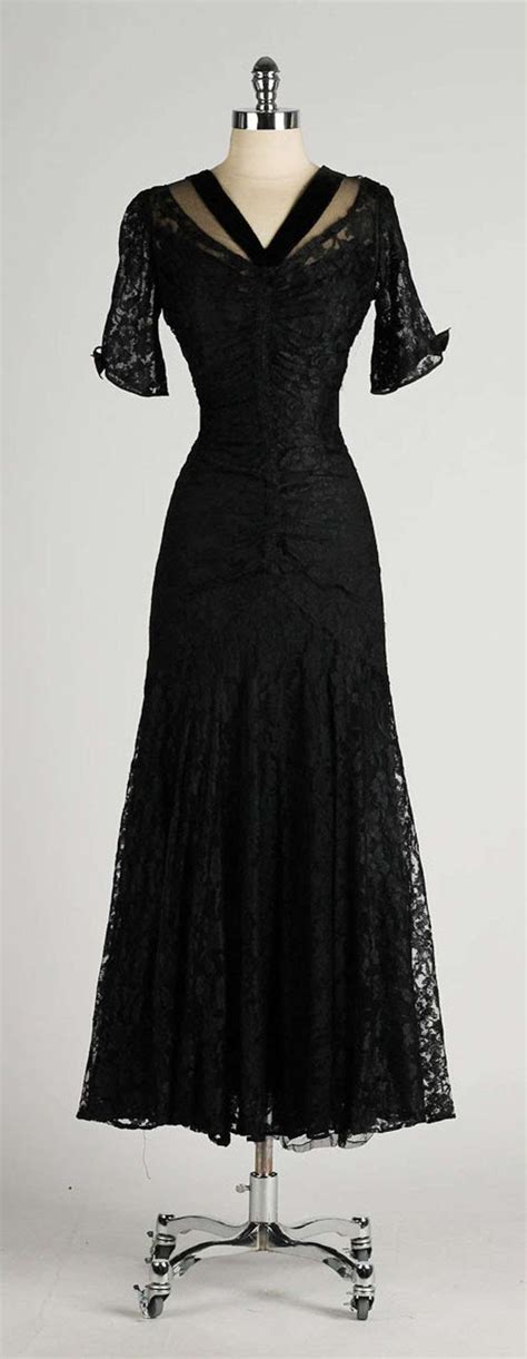 vintage 1940 s black chantilly lace illusion bodice dress