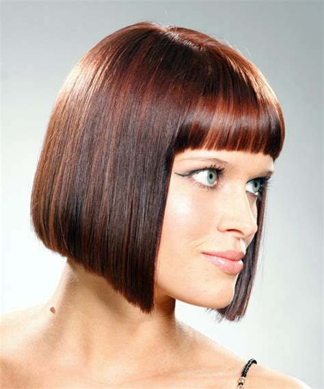 how to cut hair into a bob style ponytail method medium straight casual bob hairstyle with blunt cut bangs