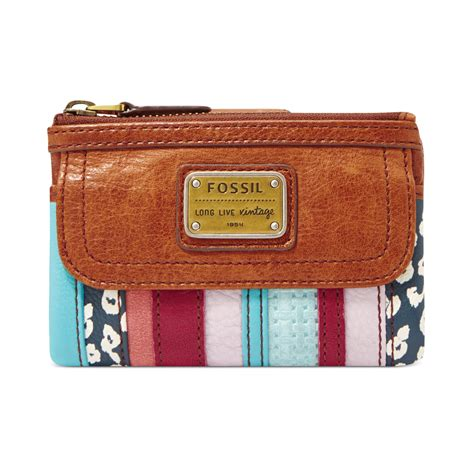 Patchwork Wallet - fossil emory leather patchwork multifunction wallet in