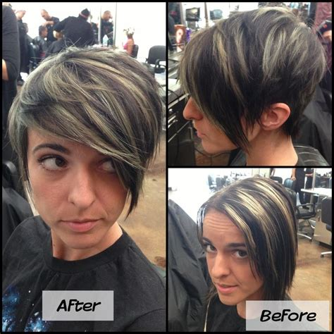 very short hairstyle with highlights lift and a bump on refreshed mint green highlight pixie cut before and