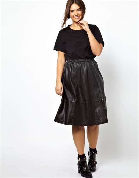 asos curve midi dress with leather skirt and jersey top in