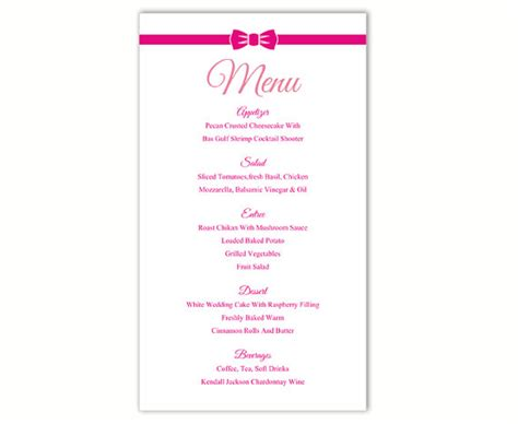 free wedding menu template for word wedding menu template diy menu card template editable text word file instant pink menu