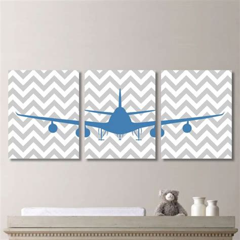 Airplane Bathroom Decor airplane aviation chevron print trio home decor bath