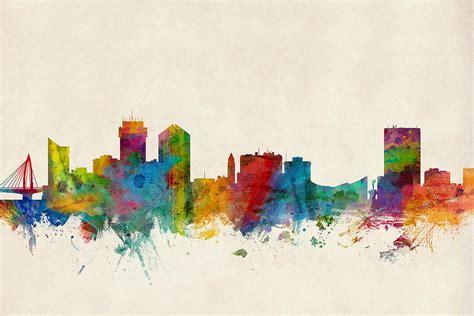 watercolor tattoo wichita ks wichita kansas skyline digital by michael tompsett