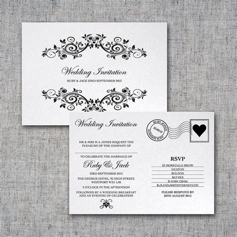 wedding invite postcard style personalised postcard wedding invitation by intwine