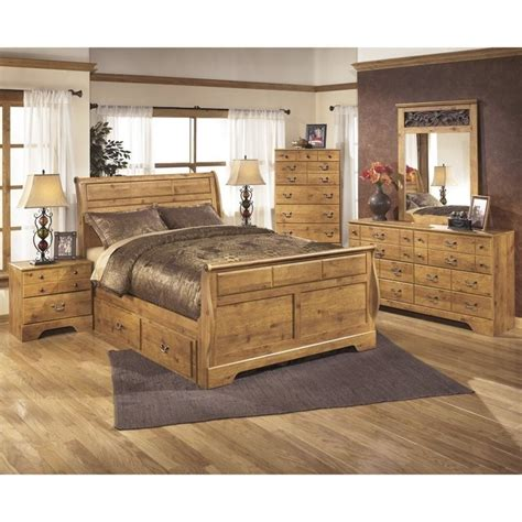 ashley bittersweet 6 piece wood king drawer sleigh bedroom