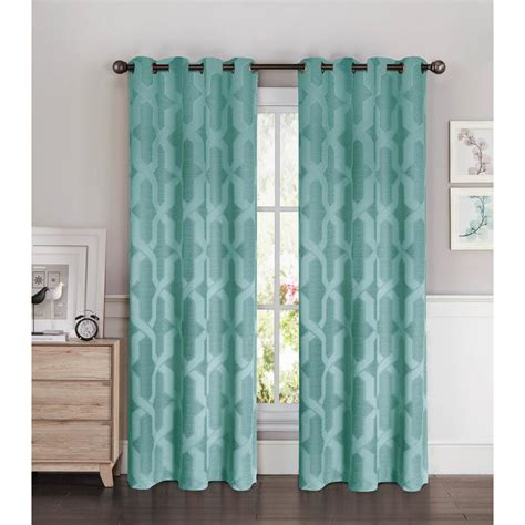 Grey And Teal Curtains Semi Opaque Drona Thermal 84 In L Room Darkening Grommet Curtain Panel Pair Grey